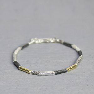 17710 - Armband zilver oyx/ wit