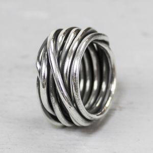 17984 - Ring zilver oxy gewikkeld dik