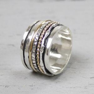 18484 - Ring zilver + Gold Filled Speels