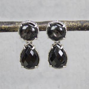 18699 - Oorsteker zilver + Onyx / Obsediaan