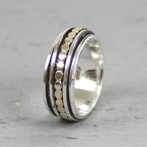 19222 - Ring zilver met goldfilled classic