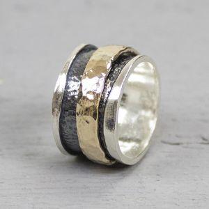 19223 - Ring zilver + Gold Filled stoer