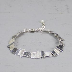 19285 - Armband zilver oxy / wit