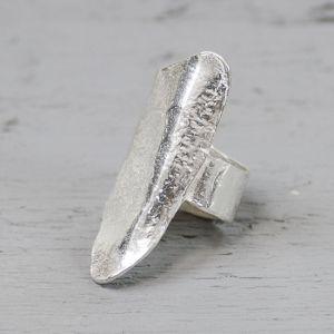 19428 - Ring zilver langwerpig
