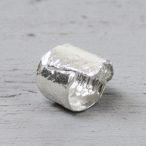 19429 - Ring zilver wit gevouwen