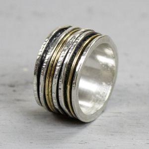 19436 - Ring zilver + Gold Filled Strak