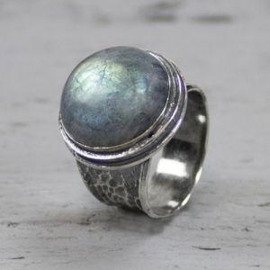 19492 - Ring zilver + Labradoriet groot