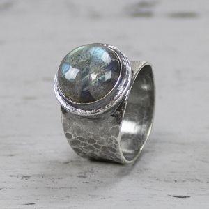 19494 - Ring zilver + Labradoriet klein