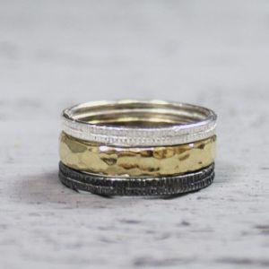 19606 - Ring zilver + Gold Filled Romantisch