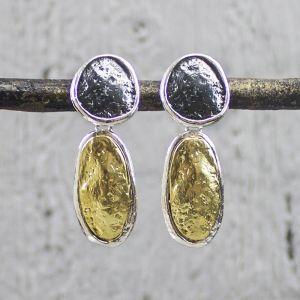 19645 - Oorsteker zilver oxy met zilver verguld