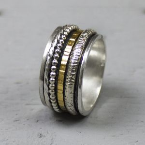 19691 - Ring zilver + Gold FIlled Creatief