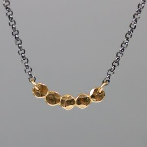 20464 - Collier goldfilled bubbles + oxy zilver collier