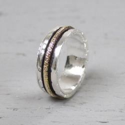 18483 - Ring zilver + Gold Filled Energiek