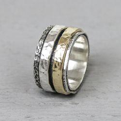 19969 - Ring zilver met goldfilled duo